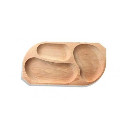 Platou din lemn 3 compartimente
