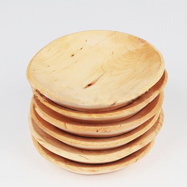 Set 6 farfurii rotunde din lemn de fag