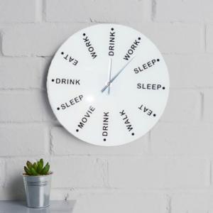 Ceas de perete Drink, eat, sleep