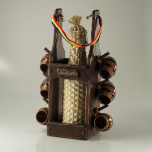 Minibar cu sticla impletita şi 6 pahare ceramica