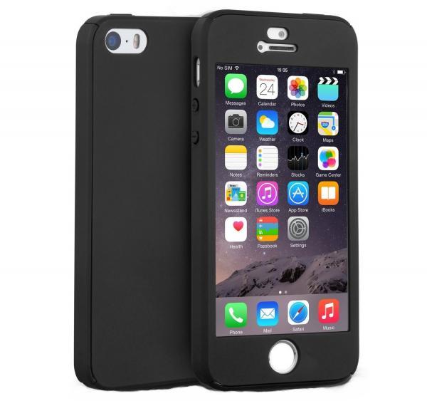 Husa Full Cover 360 (fata + spate + geam sticla) pentru Apple iPhone 5 / 5S / SE, Negru