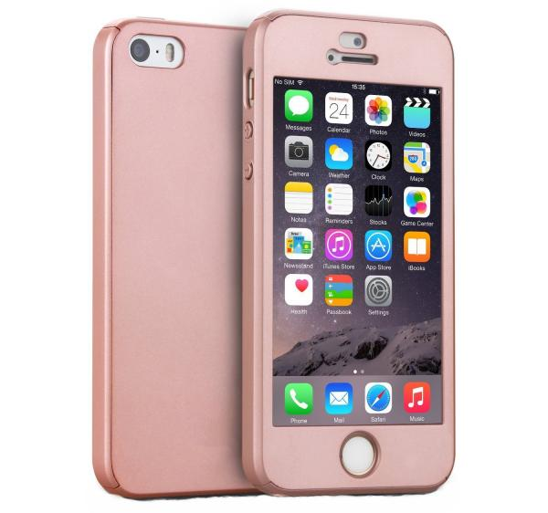 Husa Full Cover 360 (fata + spate + geam sticla) pentru Apple iPhone 5 / 5S / SE, Rose Gold