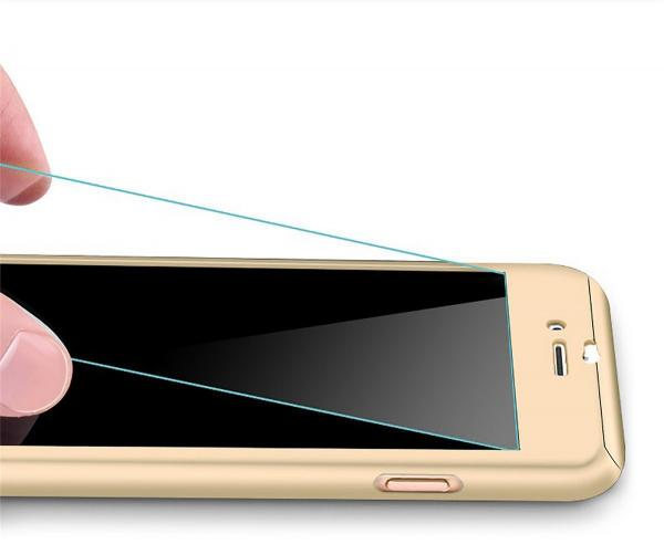 Husa Full Cover 360 (fata + spate + geam sticla) pentru Apple iPhone 6 Plus / 6S Plus, Gold
