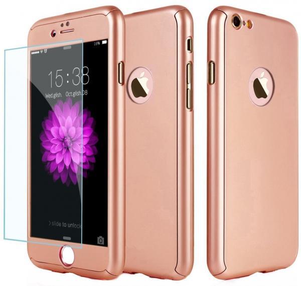 Husa Full Cover 360 (fata + spate + geam sticla) pentru Apple iPhone 6 Plus / 6S Plus, Rose Gold