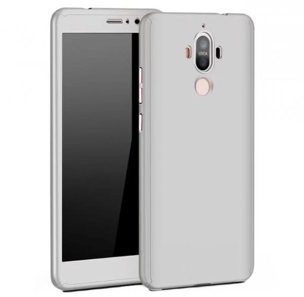 Husa Full Cover 360 (fata + spate + geam sticla) pentru Huawei Mate 9, Silver