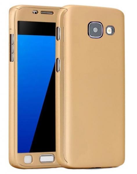 Husa Full Cover 360 (fata + spate + geam sticla) pentru Samsung Galaxy A3 (2017), Gold