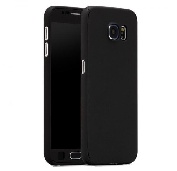 Husa Full Cover 360 (fata + spate + geam sticla) pentru Samsung Galaxy S7, Negru