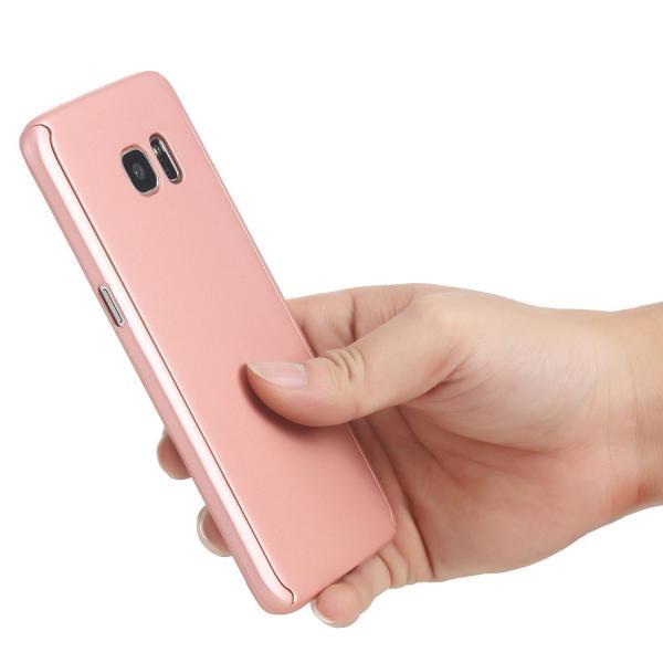 Husa Full Cover 360 (fata + spate) pentru Samsung Galaxy S6 Edge, Rose Gold