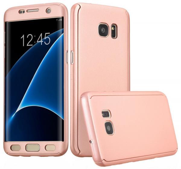 Husa Full Cover 360 (fata + spate) pentru Samsung Galaxy S7 Edge, Rose Gold