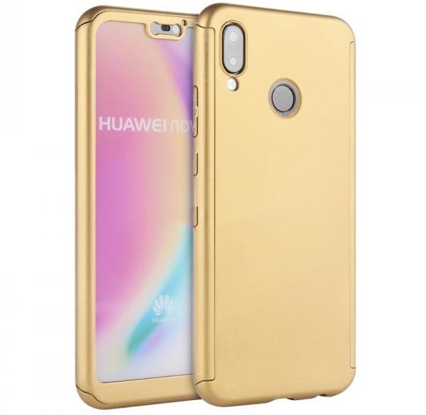 Husa Full Cover 360 + folie sticla Huawei P20 Lite, Gold