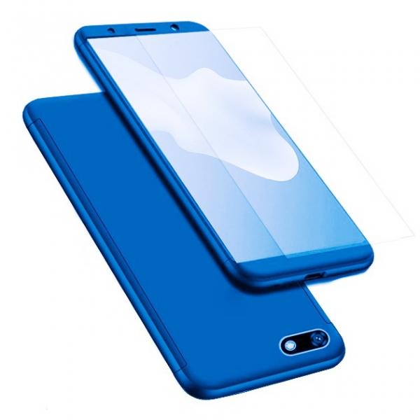 Husa Full Cover 360 + folie sticla pentru Huawei Y5 (2018), Albastru