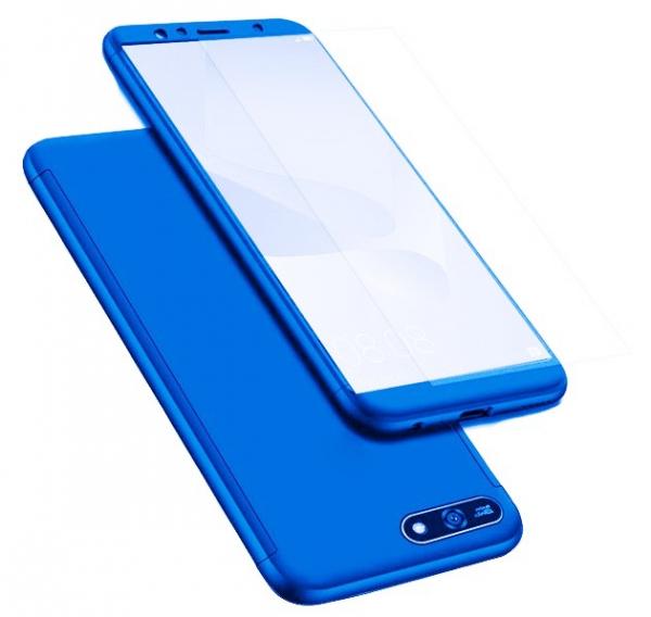 Husa Full Cover 360 + folie sticla pentru Huawei Y6 (2018), Albastru