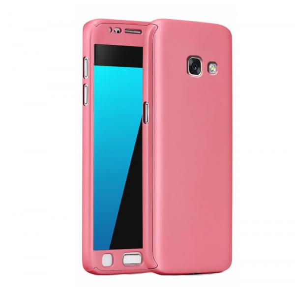 Husa Full Cover 360 + folie sticla Samsung Galaxy A5 (2017), Rose Gold