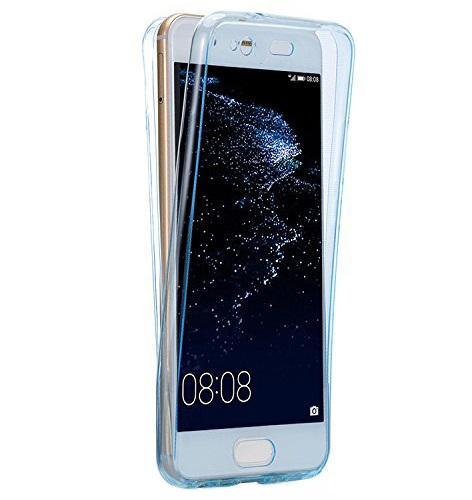 Husa Full TPU 360 (fata + spate) pentru Huawei P10, Albastru Transparent