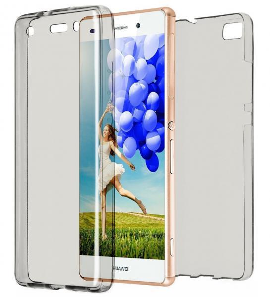 Husa Full TPU 360 (fata + spate) pentru Huawei P8 Lite, Gri Transparent