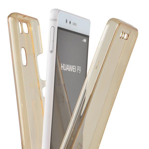 Husa Full TPU 360 (fata + spate) pentru Huawei P9, Gold Transparent