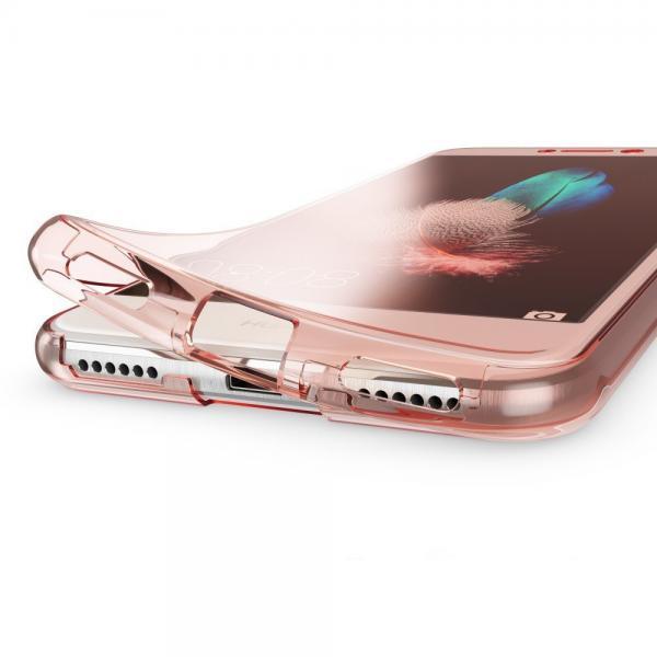 Husa Full TPU 360 (fata + spate) pentru Huawei P9 Lite 2017, Rose Gold Transparent