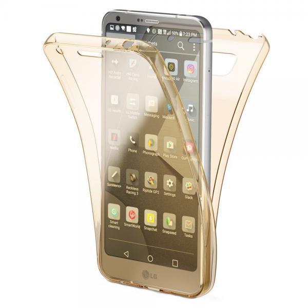 Husa Full TPU 360 (fata + spate) pentru LG G6, Gold Transparent