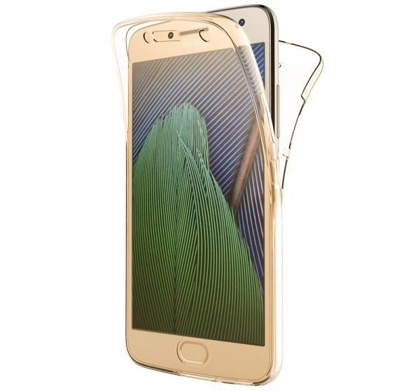 Husa Full TPU 360 fata + spate pentru Motorola Moto G5, Gold transparent