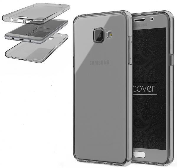 Husa Full TPU 360 (fata + spate) pentru Samsung Galaxy A7 (2016), Gri transparent