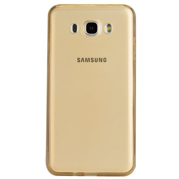 Husa Full TPU 360 (fata + spate) pentru Samsung Galaxy J5 (2016), Gold Transparent
