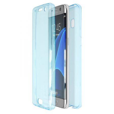 Husa Full TPU 360 (fata + spate) pentru Samsung Galaxy S6 Edge, Albastru transparent