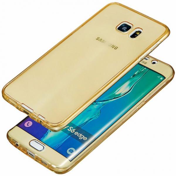 Husa Full TPU 360 (fata + spate) pentru Samsung Galaxy S6 Edge, Gold Transparent