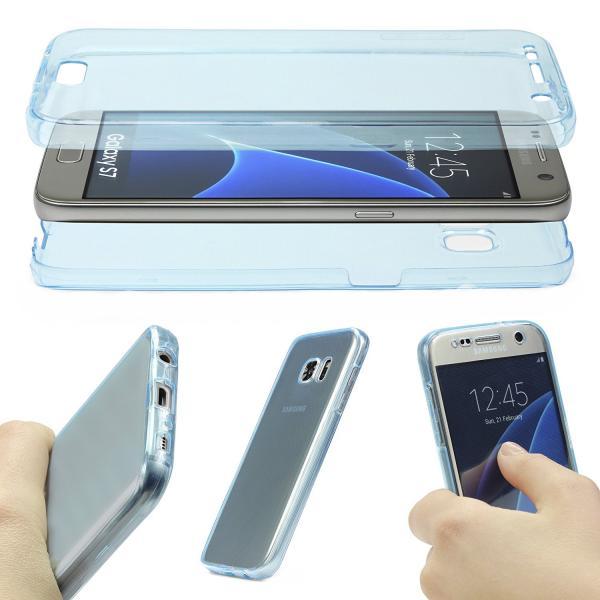 Husa Full TPU 360 (fata + spate) pentru Samsung Galaxy S7, Albastru Transparent