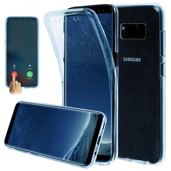 Husa Full TPU 360 (fata + spate) pentru Samsung Galaxy S8, Albastru transparent