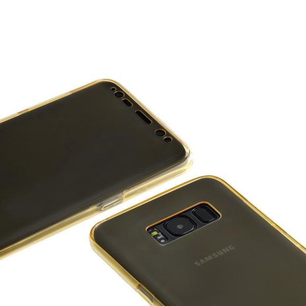 Husa Full TPU 360 (fata + spate) pentru Samsung Galaxy S8 Plus, Gold Transparent