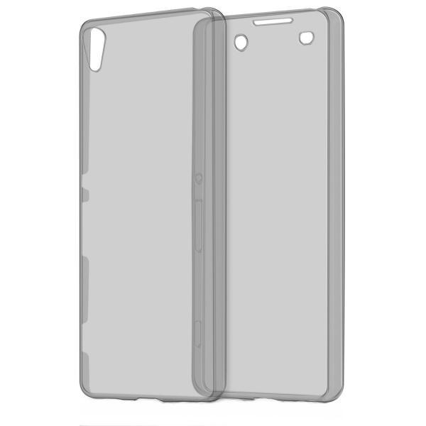 Husa Full TPU 360 (fata + spate) pentru Sony Xperia X, Gri transparent