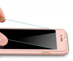 Husa Full Cover 360 (fata + spate + geam sticla) pentru Apple iPhone 6 / 6S, Rose Gold