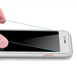 Husa Full Cover 360 (fata + spate + geam sticla) pentru Apple iPhone 7 Plus, Silver