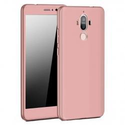 Husa Full Cover 360 (fata + spate + geam sticla) pentru Huawei Mate 9, Rose Gold