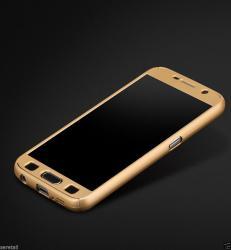 Husa Full Cover 360 (fata + spate + geam sticla) pentru Samsung Galaxy A5 (2016), Gold