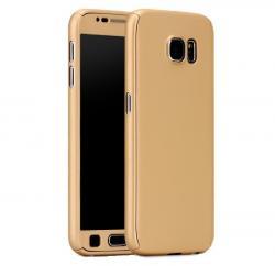 Husa Full Cover 360 (fata + spate + geam sticla) pentru Samsung Galaxy S7, Gold