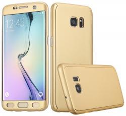 Husa Full Cover 360 (fata + spate) pentru Samsung Galaxy S6 Edge, Gold