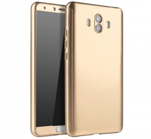 Husa Full Cover 360 + folie sticla Huawei Mate 10, Gold