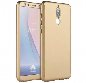 Husa Full Cover 360 + folie sticla Huawei Mate 10 Lite, Gold