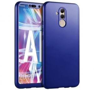 Husa Full Cover 360 + folie sticla Huawei Mate 20 Lite, Albastru