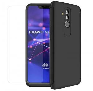 Husa Full Cover 360 + folie sticla Huawei Mate 20 Lite, Negru