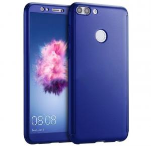 Husa Full Cover 360 + folie sticla Huawei P Smart, Albastru