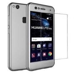 Husa Full Cover 360 + folie sticla Huawei P10 Lite, Silver