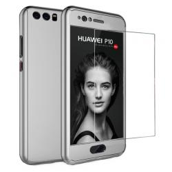 Husa Full Cover 360 + folie sticla Huawei P10 Plus, Silver