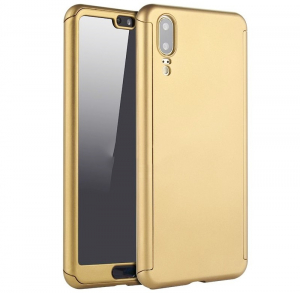 Husa Full Cover 360 + folie sticla Huawei P20, Gold