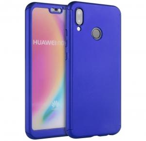 Husa Full Cover 360 + folie sticla Huawei P20 Lite, Albastru