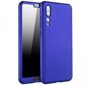 Husa Full Cover 360 + folie sticla Huawei P20 Pro, Albastru