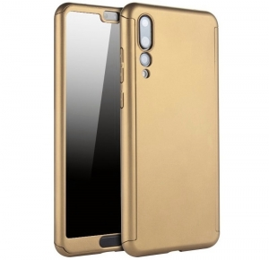 Husa Full Cover 360 + folie sticla Huawei P20 Pro, Gold