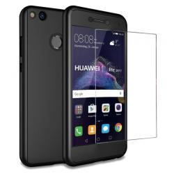 Husa Full Cover 360 + folie sticla Huawei P9 Lite 2017, Negru