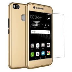 Husa Full Cover 360 + folie sticla Huawei P9 Lite, Gold